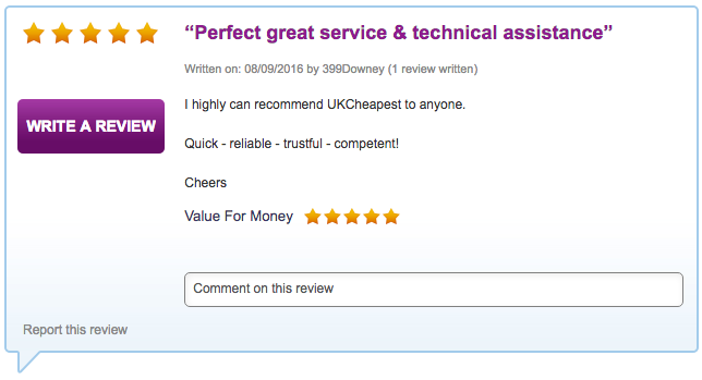 I highly can recommend UKCheapest to anyone.   Quick - reliable - trustful - competent!
