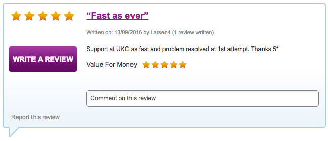 Support at UKC as fast and problem resolved at 1st attempt. Thanks 5*
